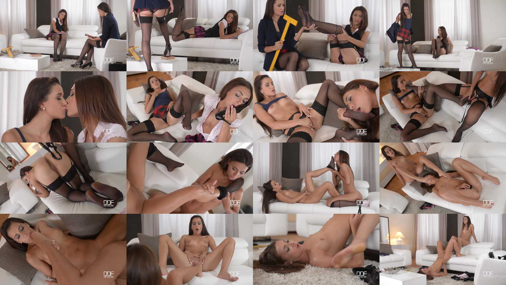 Cindy, Alexis Brill in Nylon Stocking College Girls Orgasm with Foot in Pussy Play