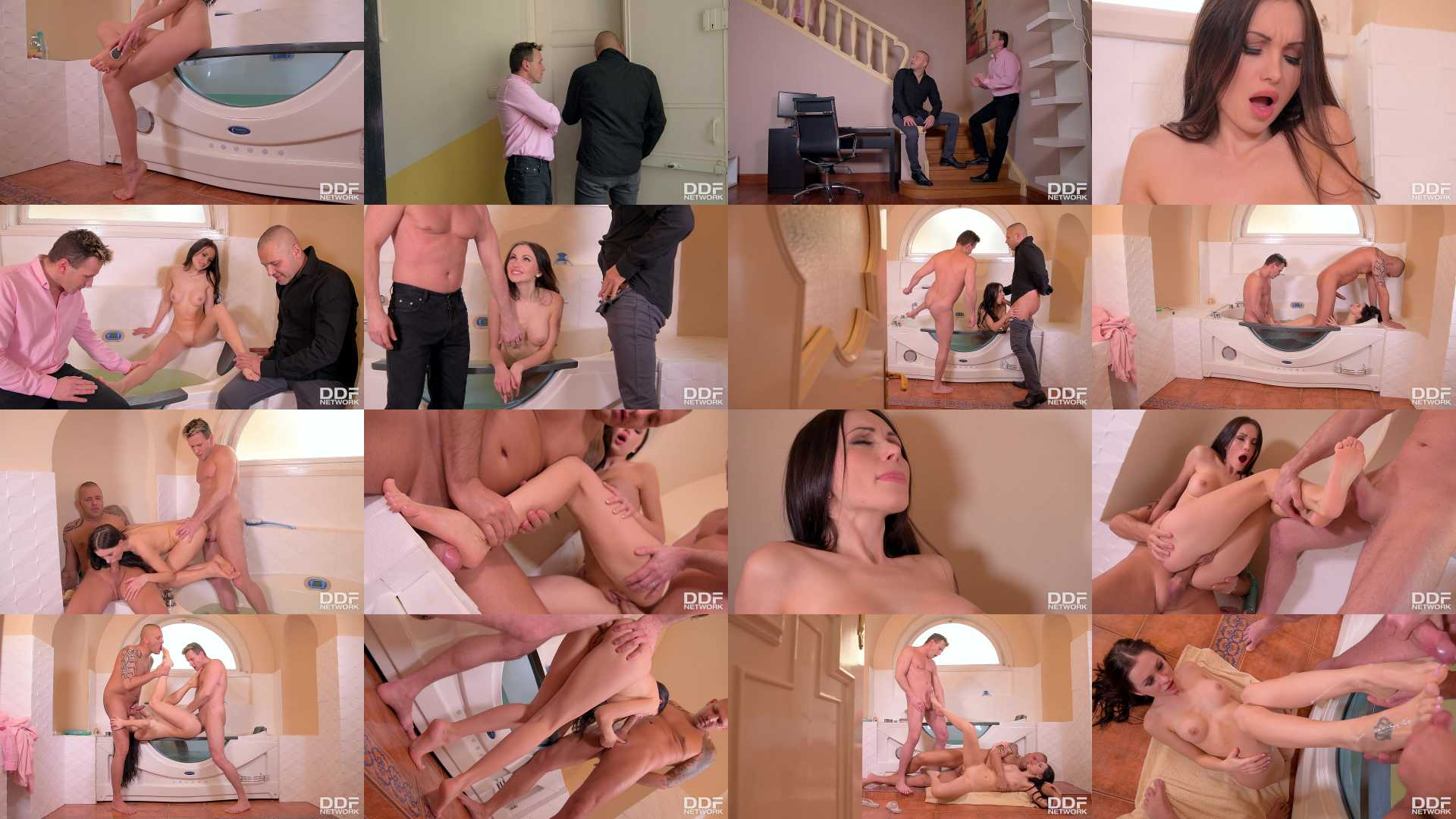 Sasha Rose in Bathroom Threesome: Russian Babe Gets Her Sexy Toes Sucked